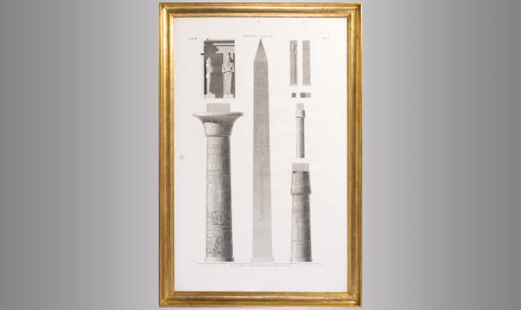 Grabado Francés<br/> Elementos arquitectónicos <br/>del Templo de Karnak en Luxor <br/> Princípios del Siglo XIX