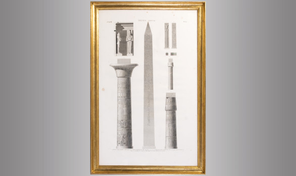 French Engraving Architectural elements <br/> of the Temple of Karnak in Luxor<br/>Early Nineteenth Century