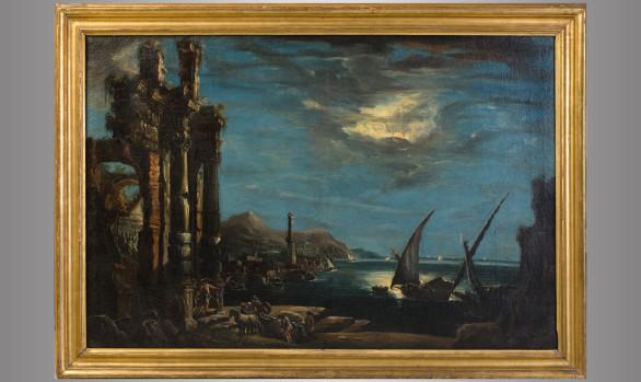 ''Vista de Puerto Nocturna''<br/> Pintura Italiana Escuela de A. Magnasco<br/> Siglo XVIII