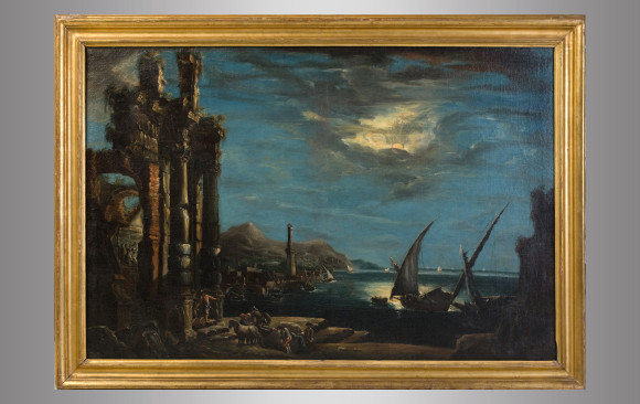 ''Nigth  view of harbor''<br/> Italian painting school<br/> Eighteenth Century