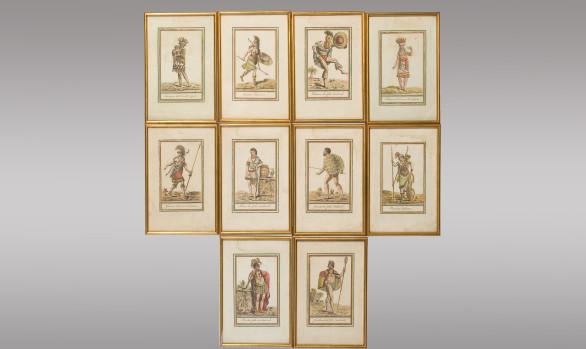 Diez Grabados coloreados <br/>Firmados por<br/> Jacques Grasset Saint-Sauveur 1796