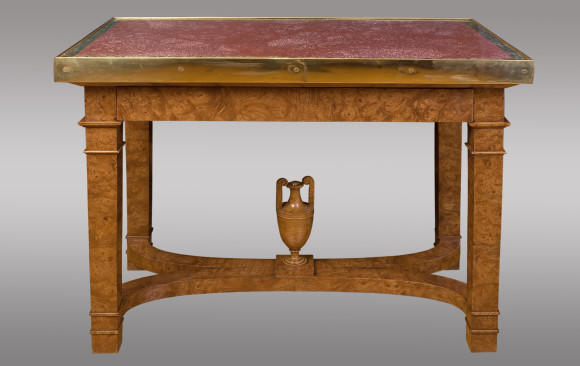 Russian Center Table in elm root<br/>topped with porphyry and bronze<br/> Circa 1830