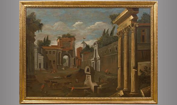 ''Vista del Arco de Tito en Roma''<br/> Siglo XVII