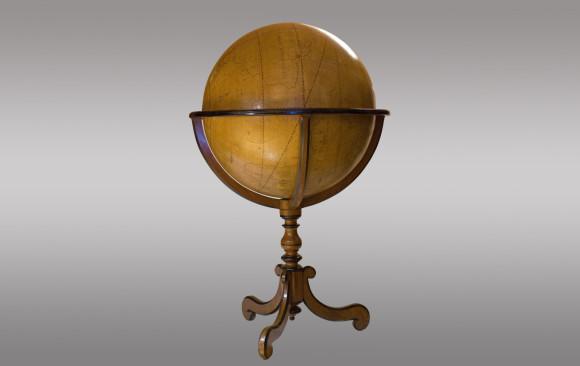 Globo terrestre Francés pintado a mano<br/> 1ª Mitad del Siglo XVIII