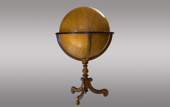 Colossal Terrestrian Globe hand painted <br/>French<br/> First Half of Eighteenth Century
