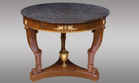 French Mahogany Center Table<br/> Probably model of the cabinetmaker<br/> Jacob Desmalter<br/>Early Nineteenth Century