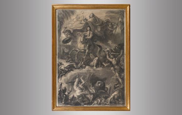 Ludovico Magno <br/>Grabado por Gerard Edelink <br/>de una pintura de Charles Lebrun <br/>Hacia 1680