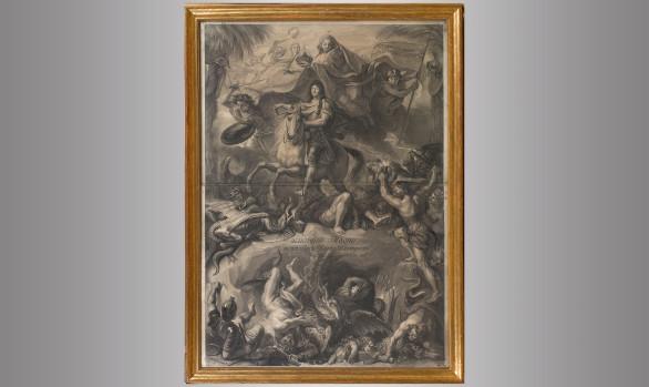 Luis XIV a caballo <br/>Grabado por Gerard Edelink <br/>de una pintura de Charles Lebrun <br/>Hacia 1680