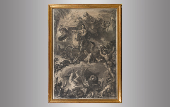 Ludovico Magno <br/>Engraved by Gerard Edelink<br/> after Charles Lebrun<br/> Circa 1680