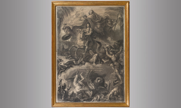 Louis XIV on horseback<br/>Engraved by Gerard Edelink<br/> after Charles Lebrun<br/> Circa 1680