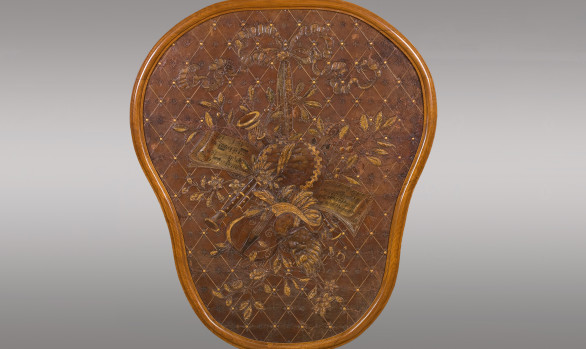 French embossed Leather Panel<br/> ''Allegory of Music and Theater''<br/>Nineteenth Century