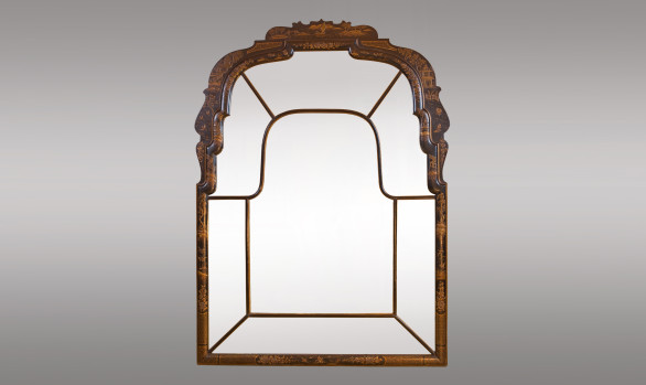 Queen Anne Style black lacquer <br/>hand painted oriental Mirror<br/> Circa 1920