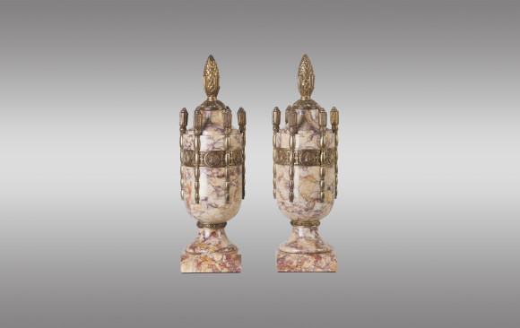 French Art Deco marble urns with bronze<br/> Circa 1920