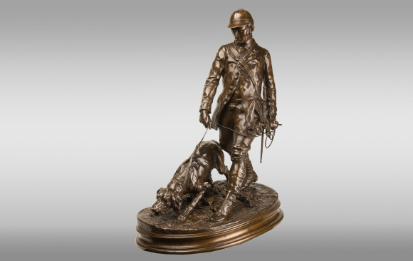 Bronce ''Mozo de sabuesos'' <br/> Firmado: P. J. Mène (1810-1879)