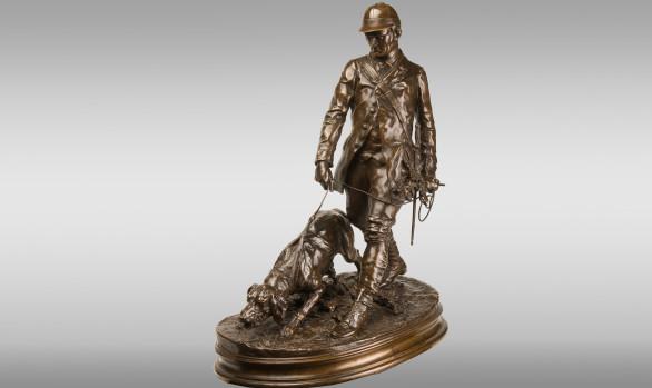 P.J. Mêne (1810-1879) <br/> Bronze group ''Valet de Limier''