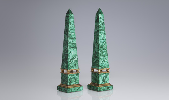 Russian malachite obelisks and gilt bronze<br/>  Nineteenth Century