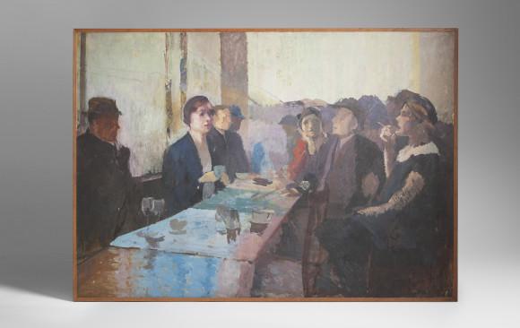 Elie Anatole Pavil <br/>(Odesa 1873 - Marruecos 1948)<br/> ''Interior de Café''<br/> Hacia 1930