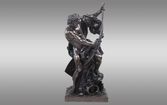 ''Ulises doblando su arco'' <br/> Bronce de Jacques Bousseau (1681-1740)<br/> Siglo XIX