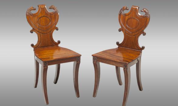 Sillas Inglesas de Hall <br/> Época Regency  Hacia 1815