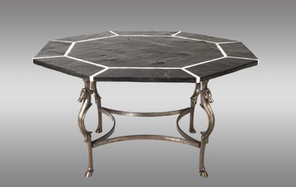 Spectacular octogonal dining table<br/> in black slate, marbre and steel