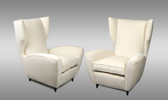 Pair of high backs Italian Armchairs<br/>Design by Melchiorre Bega<br/> Circa 1950