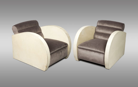 Art Deco Armchairs<br/>covered in parchment <br/> Circa 1940