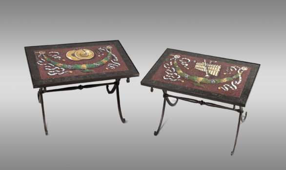 Low Tables with stucco <br/> and black granit<br/> Nineteen Century