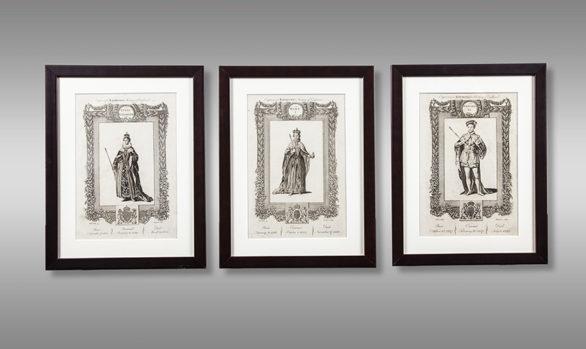Serie de 12 grabados de Reyes Ingleses<br/>  por Charles Grignion <br/> dibujados por Samuel Wale<br/> Siglo XVlll